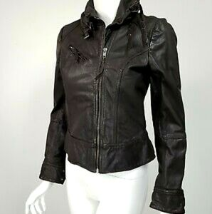 All saints belvedere brown leather jacket size 4
